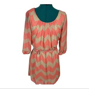 Lily Rose Pink and tan 3/4 sleeve shirt dress NWT